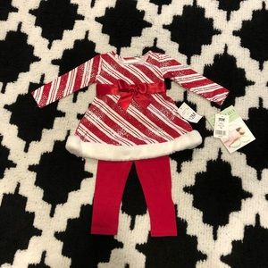 NWT! 12mon Bonnie Baby holiday 2pc w/ stripes/ fur